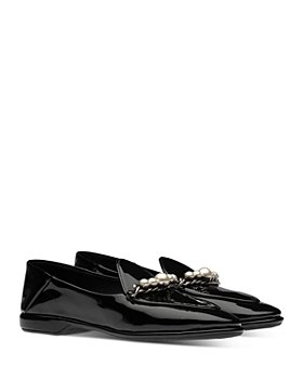 Miu Miu - Women's Calzature Donna Embellished Patent Loafers
