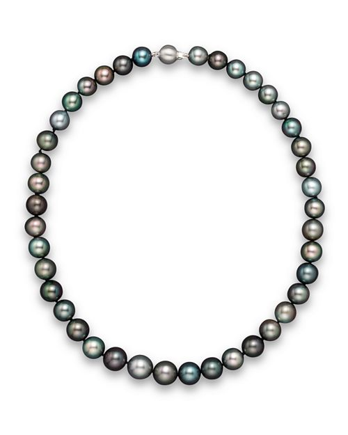 """Bloomingdale's - Natural Color Tahitian Pearl And 14K White Gold Strand Necklace, 18""""- 100% Exclusive"""
