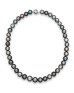 Natural Color Tahitian Pearl And 14K White Gold Strand Necklace, 18