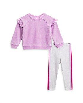 Splendid - Girls' Burn Out Ruffled Top & Striped Sweatpants - Baby