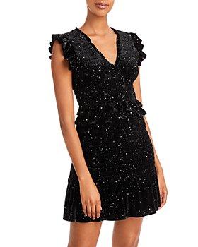 AQUA -  Velvet Smocked Mini Dress