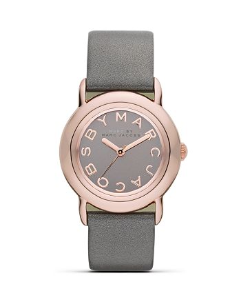 """MARC JACOBS - """"MARCI"""" Watch with Grey Leather Strap, 33 mm"""