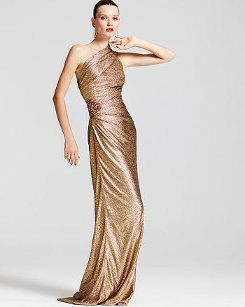 David Meister One Shoulder Metallic Gown & more | Bloomingdale\'s