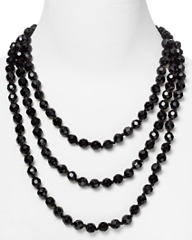 """Carolee - Black Faceted Bead Rope Necklace, 72"""""""
