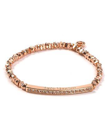 Michael Kors - Rose Gold Beaded Pavé Bar Bracelet