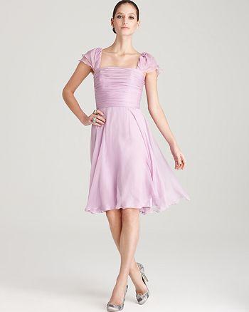 Amsale - Cap Sleeve Chiffon Dress