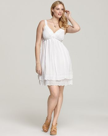Johnny Was Collection Plus - Scallop Lace Trim Tank Dress