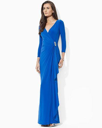 Ralph Lauren - Three-Quarter Sleeve Wrap Gown