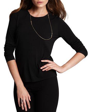 c16c2a17 Eileen Fisher - Women's Long Sleeve Stretch Silk Jersey Crew Neck Shirt