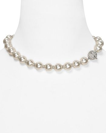 """Nadri - Simulated Pearl and Crystal Rondelles Necklace, 16"""""""