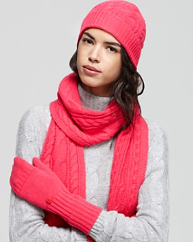 C by Bloomingdale's - Cashmere Exclusively by Bloomingdale's Cable Headband, Scarf & Poptop Mittens - 100% Exclusive