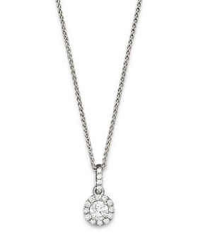 Bloomingdale's - Halo Diamond Solitaire Pendant Necklace in 14K White Gold, 0.30-0.75ct.t.w. - 100% Exclusive