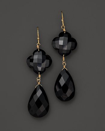 Bloomingdale's - Faceted Black Onyx Clover Flower and Pear Drop 14K Gold Earring - 100% Exclusive
