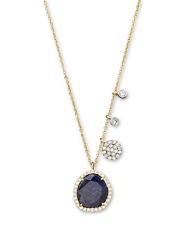 Meira T - 14K Yellow Gold Blue Sapphire Necklace with Diamonds, .25 ct. t.w.