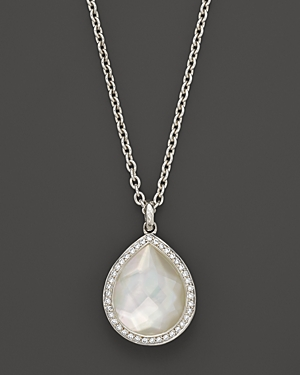 Ippolita Sterling Silver Stella Teardrop Necklace in Mother-of-Pearl with Diamonds, 16