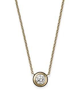 """Roberto Coin - Roberto Coin 18K Yellow Gold Diamond Bezel Pendant Necklace, 16"""""""