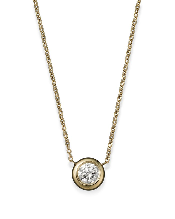Roberto Coin - Roberto Coin 18K Yellow Gold Diamond Bezel Pendant Necklace, 16""
