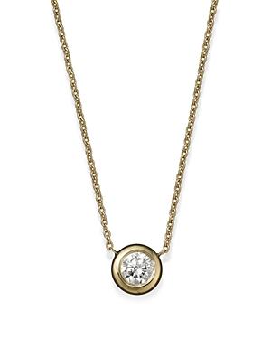 Roberto Coin 18K Yellow Gold Diamond Bezel Pendant Necklace, 16