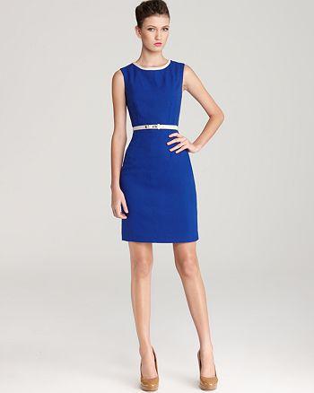 Anne Klein - Dress Belted Contrast Neck Shift Dress