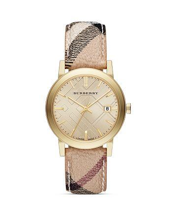 Burberry - Haymarket Check Strap Round Watch, 38m