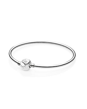 PANDORA - Moments Collection Sterling Silver Barrel Clasp Bangle