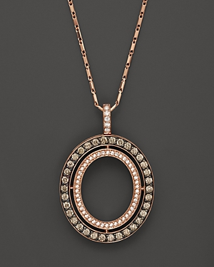 Brown and White Diamond Oval Pendant Necklace in 14K Rose Gold, 1.0 ct. t.w. - 100% Exclusive