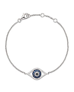 Bloomingdale's - Diamond and Blue Sapphire Evil Eye Bracelet in 14K White Gold - 100% Exclusive