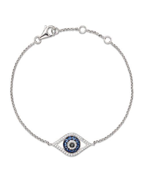 Bloomingdale S Diamond And Blue Shire Evil Eye Bracelet In 14k White Gold Nbsp 100