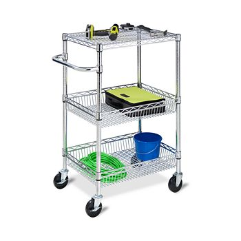 Honey Can Do - 3-Tier Chrome Heavy Duty Urban Rolling Cart