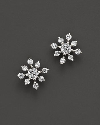 Bloomingdale S Diamond Snowflake Earrings In 14k White Gold 0 40 Ct T W 100