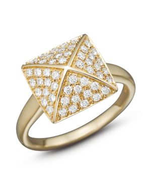 Diamond Pave Pyramid Ring in 14K Yellow Gold, 0.45 ct. t.w. - 100% Exclusive