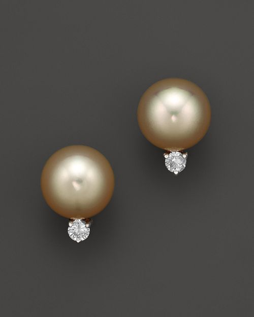 Bloomingdale's - Diamond and Golden South Sea Pearl Earrings in 14K Yellow Gold, 10mm- 100% Exclusive