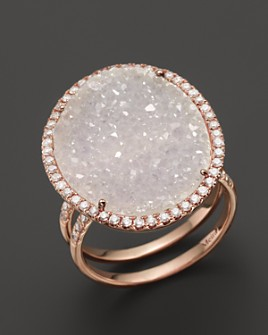Meira T - 14K Rose Gold Druzy Ring with Diamonds