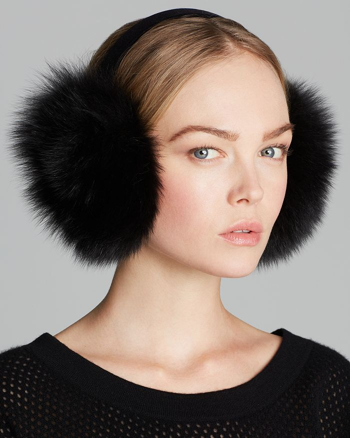 Maximilian Furs - Fox Earmuffs with Velvet Band