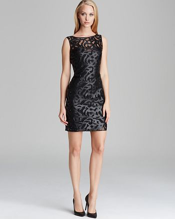Aidan Mattox - Dress - Sleeveless Illusion Neckline Faux Leather Cutout