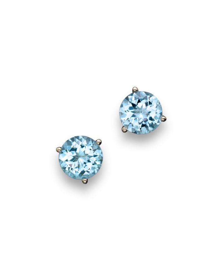 Bloomingdale's Aquamarine Round Earrings in 14K White Gold  - 100% Exclusive  | Bloomingdale's