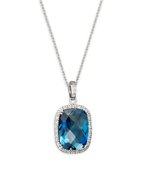 """Bloomingdale's - London Blue Topaz Cushion and Diamond Necklace in 14K White Gold, 16""""- 100% Exclusive"""