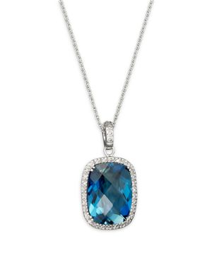 London Blue Topaz Cushion and Diamond Necklace in 14K White Gold, 16 - 100% Exclusive