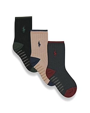 Ralph Lauren Childrenswear Toddler Boys Rib Dress Socks 3 Pack  Little Kid