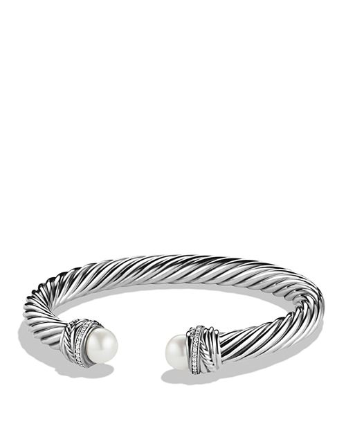 David Yurman Crossover Trade Bracelet With Pearls And Diamonds