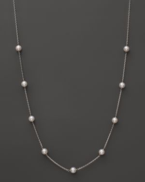 14K White Gold Akoya Cultured Pearl Necklace, 18