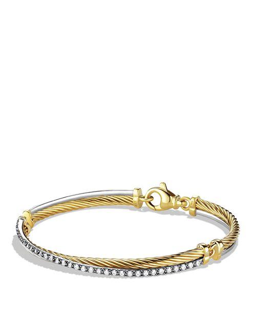 David Yurman - Crossover Bracelet with Gold and Diamonds