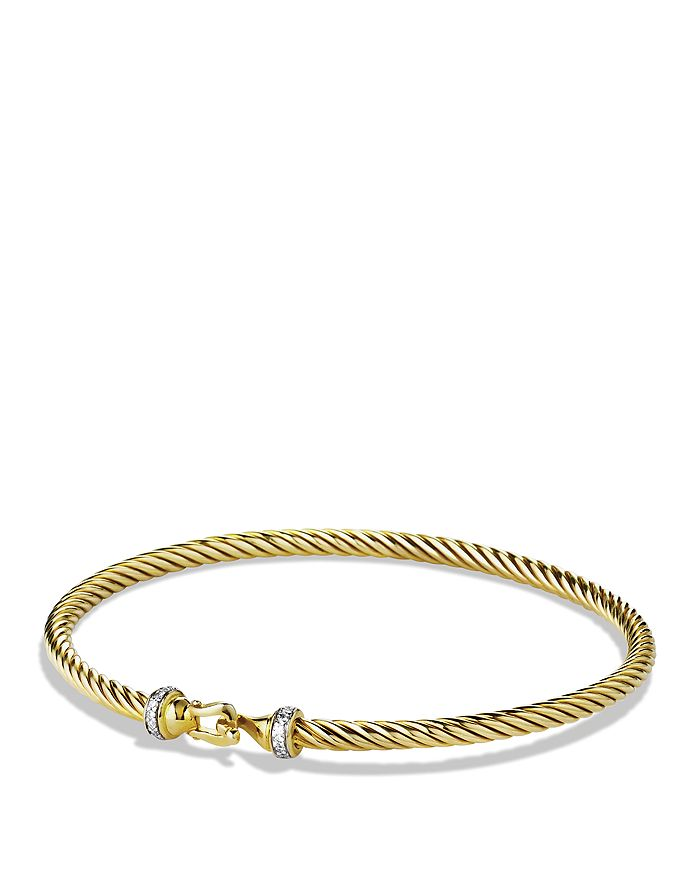 David Yurman - Cable Buckle Bracelet with Diamonds in Gold