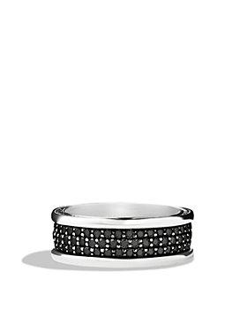David Yurman - Streamline® Three-Row Band Ring with Black Diamonds