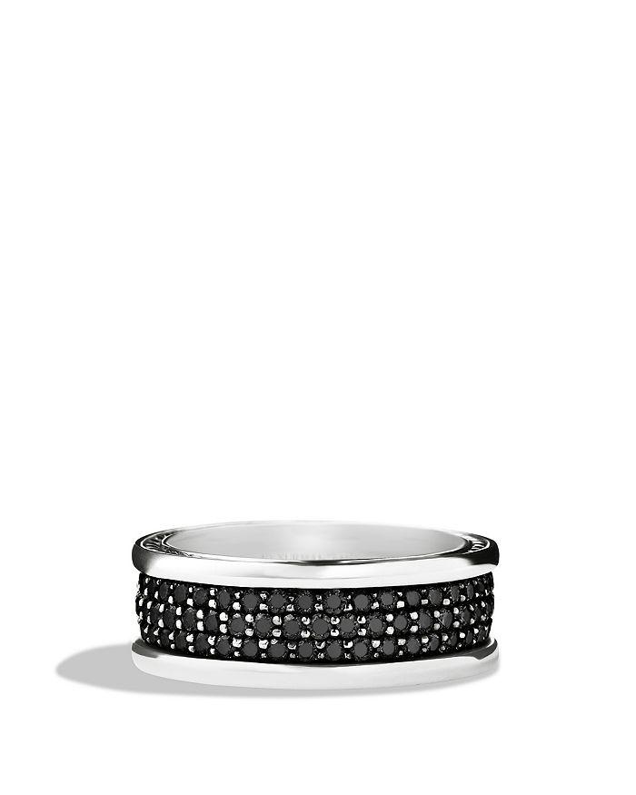 David Yurman - Streamline Three-Row Band Ring with Black Diamonds