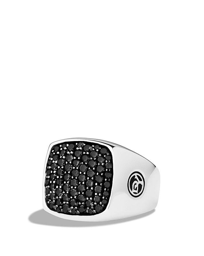 David Yurman - Pavé Signet Ring with Black Diamonds