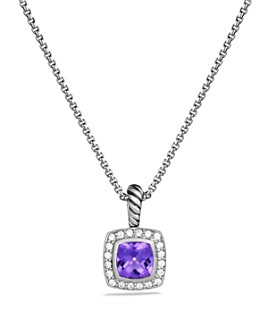 David Yurman - Petite Albion Pendant with Colored Gemstone & Diamonds on Chain