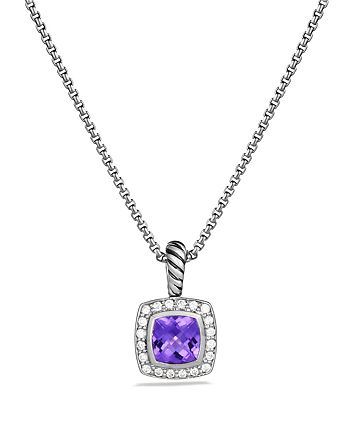 David Yurman - Petite Albion Pendant with Amethyst and Diamonds on Chain