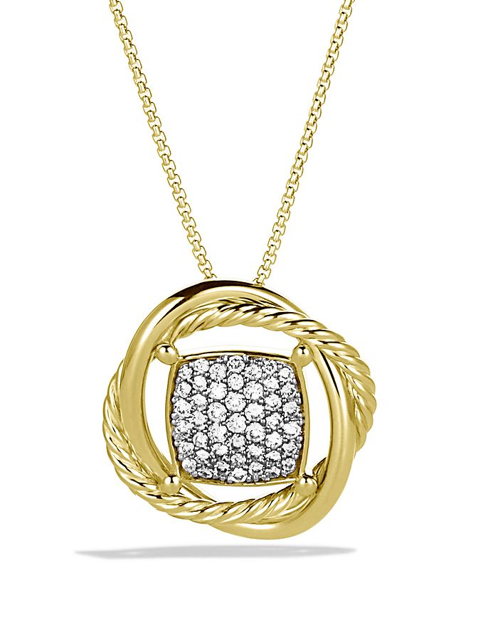 David Yurman Infinity Pendant With Diamonds In Gold On Chain In Yellow Gold