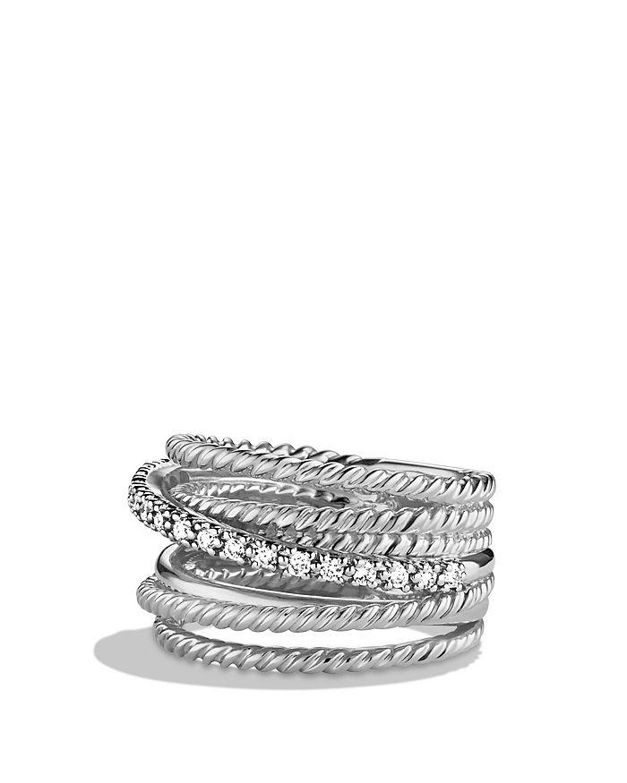 David Yurman - Crossover Wide Ring with Diamonds